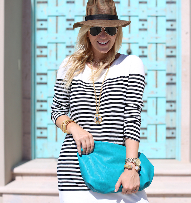 striped dress vacation