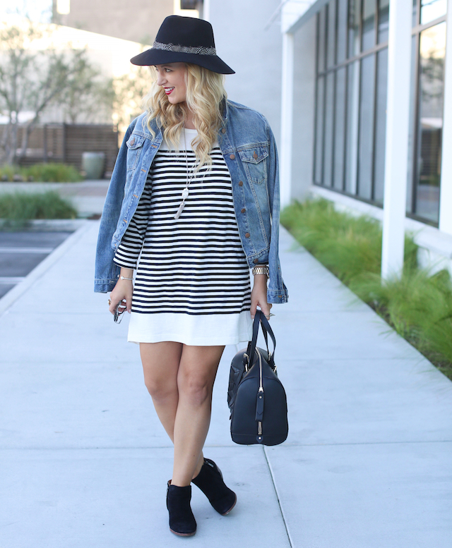 striped fall dress