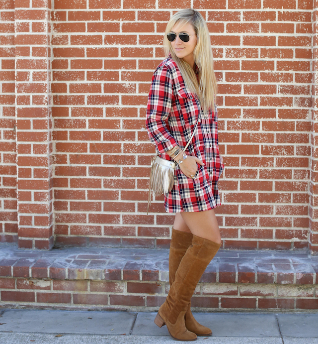 plaid shirtdress