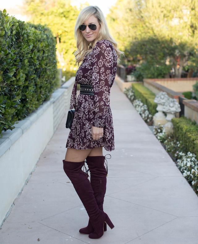 burgundy OTK boots
