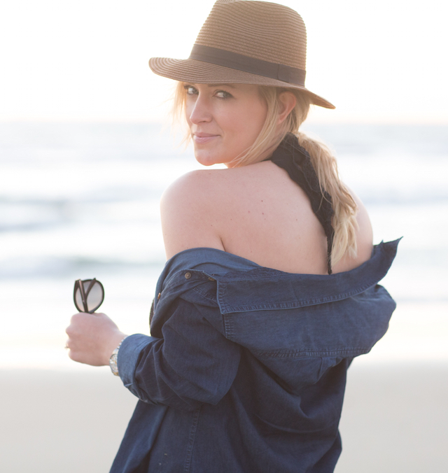 denim shirt as a beach coverup