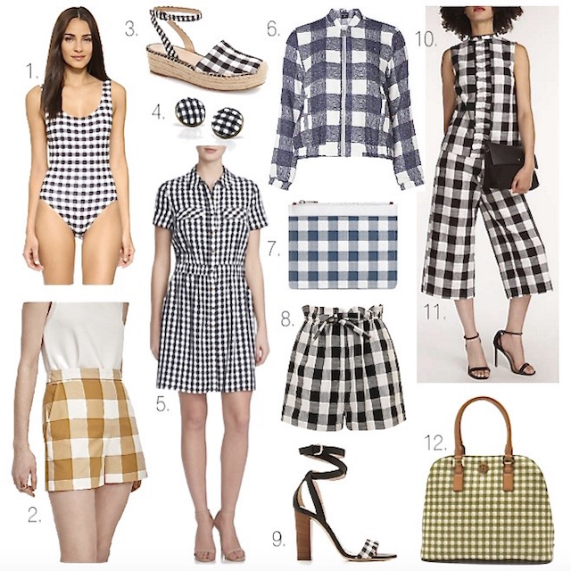 gingham print, gingham dress, gingham shorts, gingham swimsuit