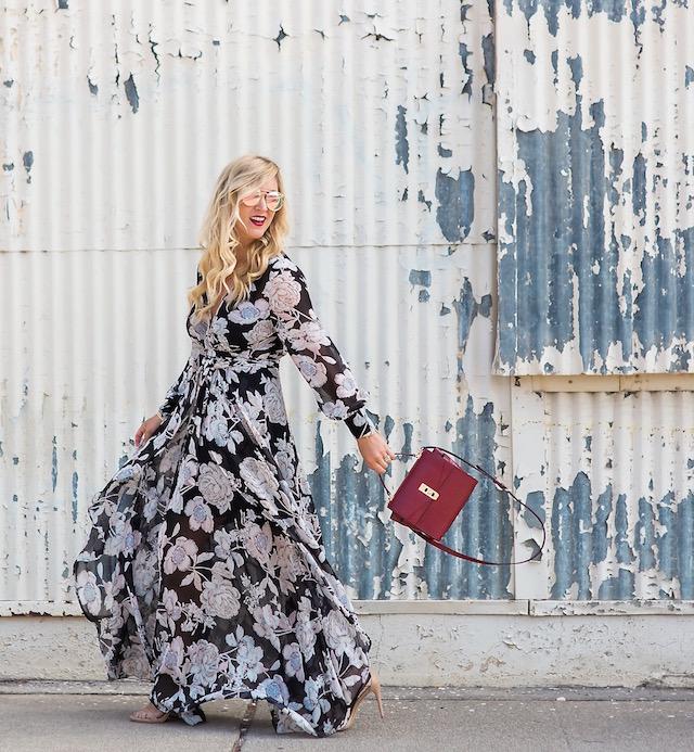 floral maxi dress, best maxi dress, henri bendel bag