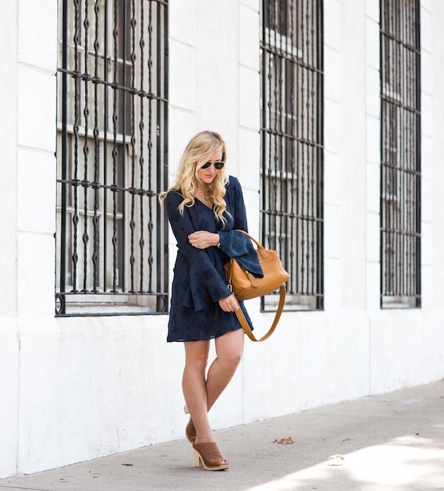 bell sleeves, embroidered dress, summer mules, gigi new york bag, julie vos jewelry