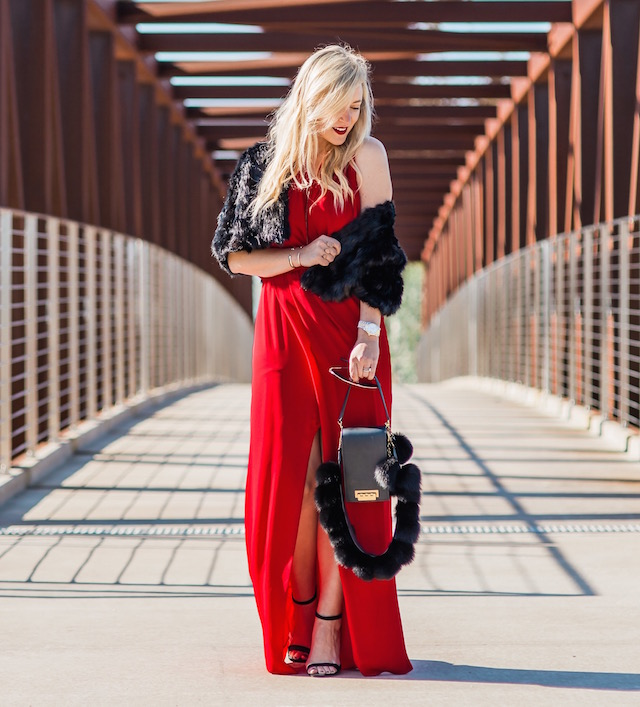 OC fashion blogger Nikki Minton styles a Parker red dress for Valentine's Day glam.