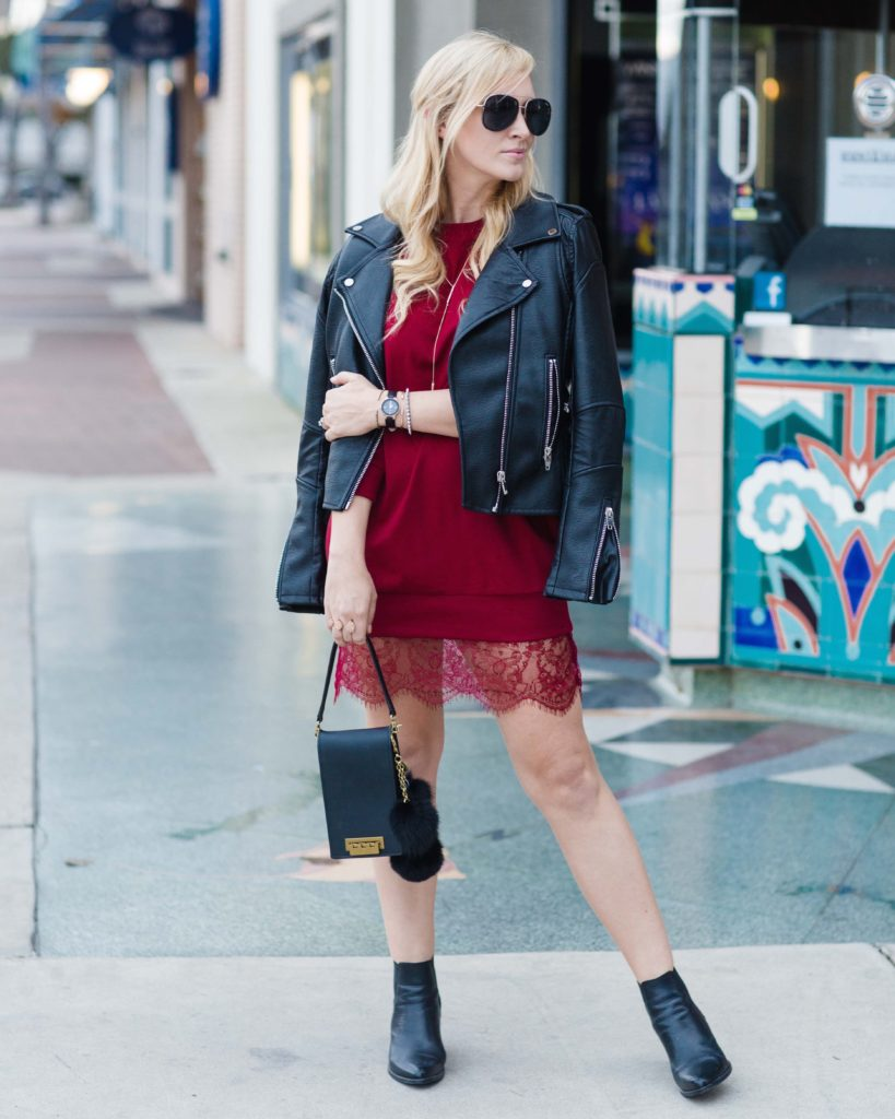 Orange County fashion blogger Nikki Minton of My Style Diaries wears a sweatshirt dress for an Armitron Valentine's Day giveaway.