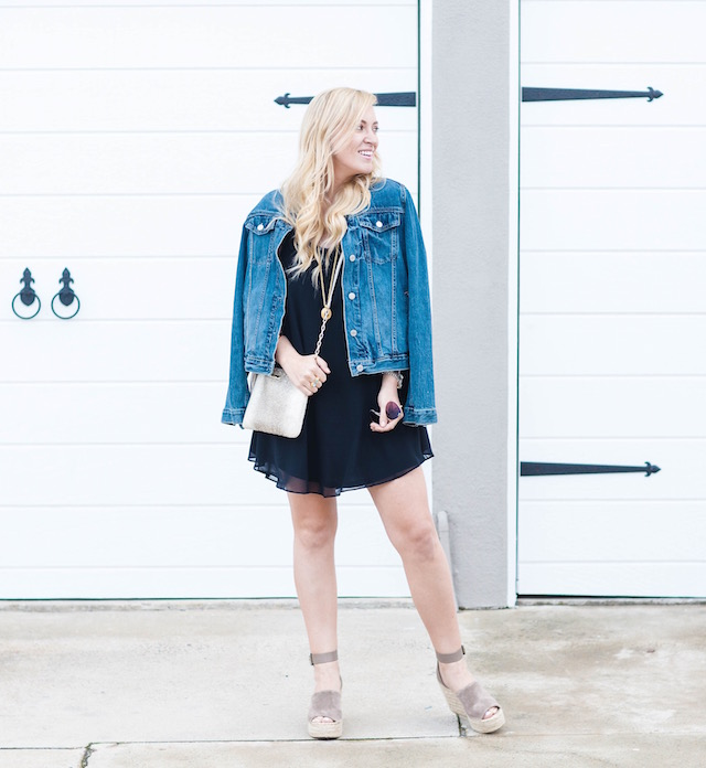 Orange County fashion blogger Nikki Minton Prendergast of My Style Diaries wears a spring little black dress with a denim jacket.