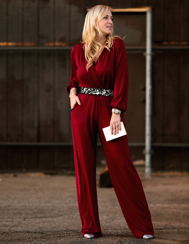 Fashion blogger Nikki Minton of My Style Diaries wearing a Ripley Rader jumpsuit for easy date night or Valentine's Day style.