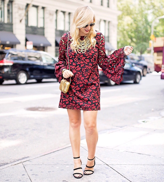 Fashion blogger Nikki Minton of My Style Diaries wearing a Likely lace dress with bell sleeves for easy date night or Valentine's Day style.