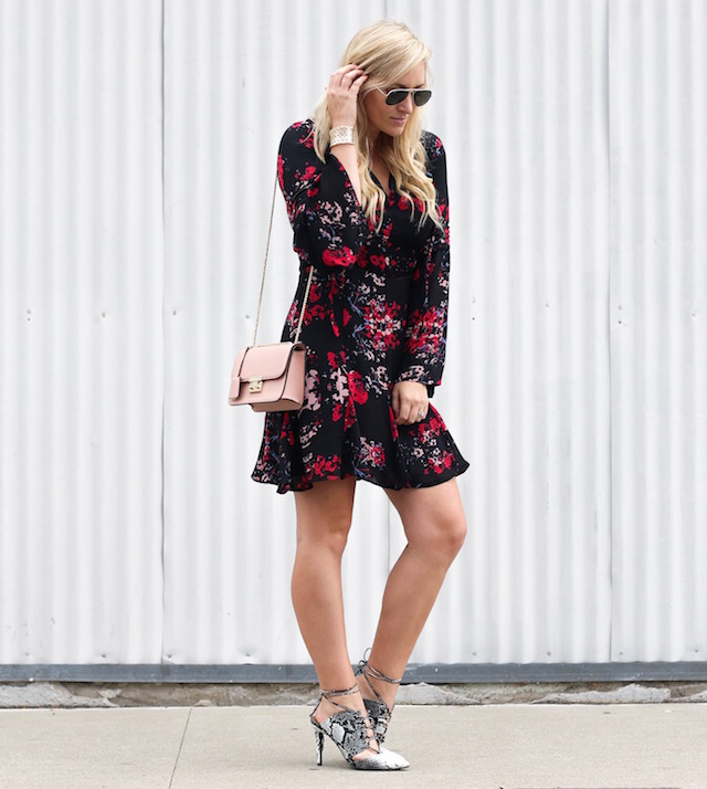 Nikki Minton of My Style Diaries wearing a flirty floral dress and snakeskin heels for Valentine's Day style.