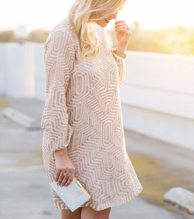 Fashion blogger Nikki Minton of My Style Diaries wearing a sparkly mini dress from Rent the Runway for easy date night or Valentine's Day style.