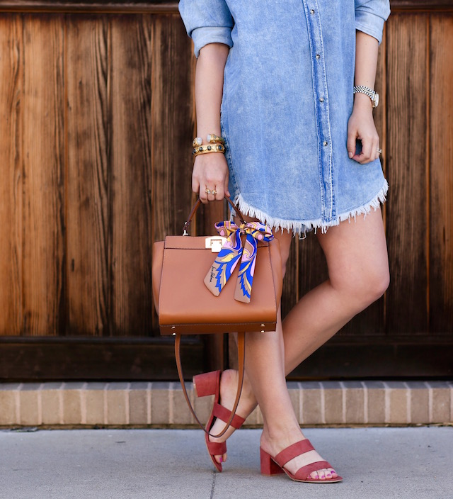 Orange County fashion blogger Nikki Prendergast of My Style Diaries in a denim shirt dress and Sam Edelman handbag.