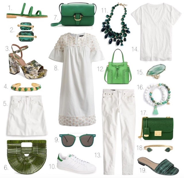 Orange County fashion blogger Nikki Prendergast of My Style Diaries shares a favorite spring color combo of green and white.