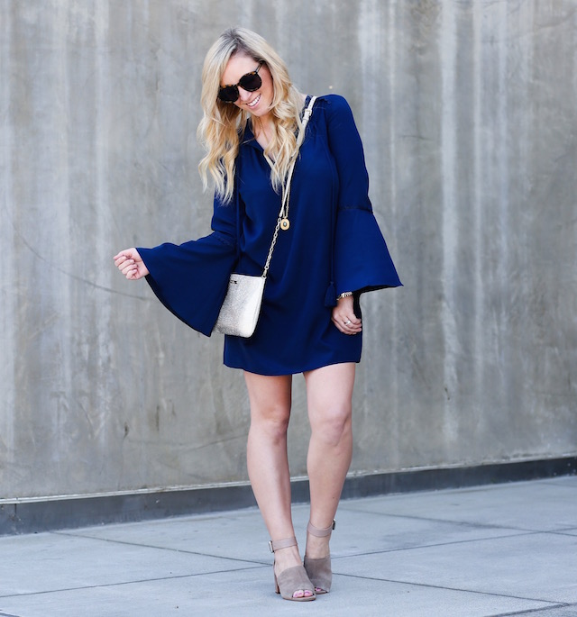 Orange County fashion blogger Nikki Prendergast of My Style Diaries in a Likely NYC bell-sleeved dress and Marc Fisher sandals.