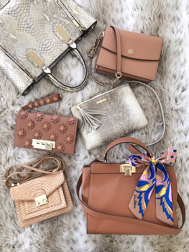 Best neutral bags for spring from Henri Bendel, Tory Burch, Zac Zac Posen, GiGi New York, Loeffler Randall, and Sam Edelman.