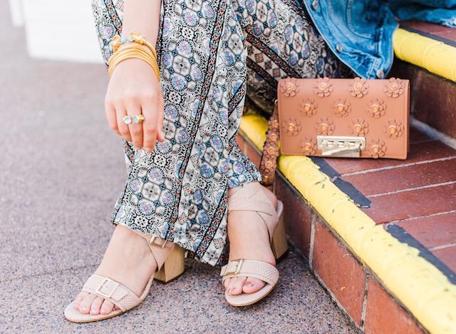 Wide leg printed pants + Isola sandals + Zac Zac Posen clutch