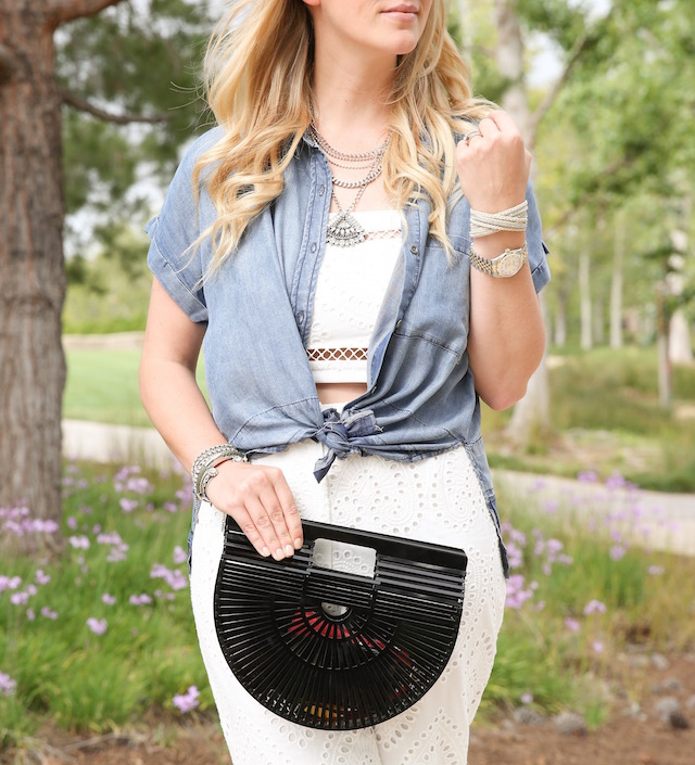 Wayf set + Rails shirt + Cult Gaia clutch