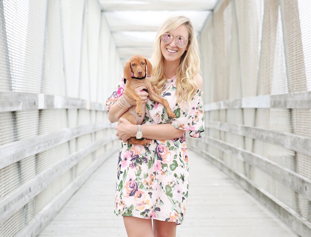 Summer floral dress + Louise the Vizsla puppy