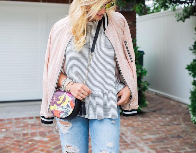 Boyfriend jeans + peplum tee + summer bomber