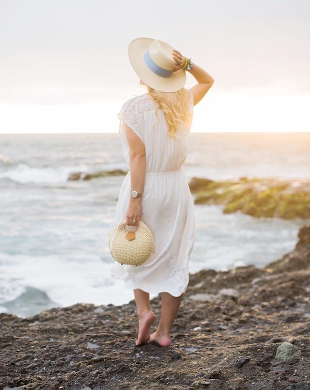 Laguna Beach sunset + ivory midi caftan