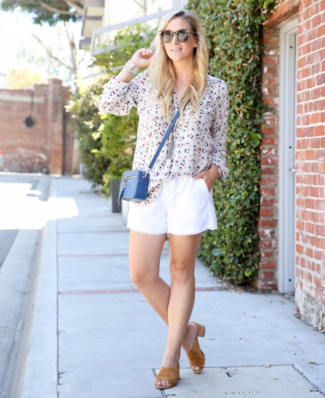 Amour Vert silk blouse + Henri Bendel bag + Bella Dahl shorts + Sigerson Morrison slides