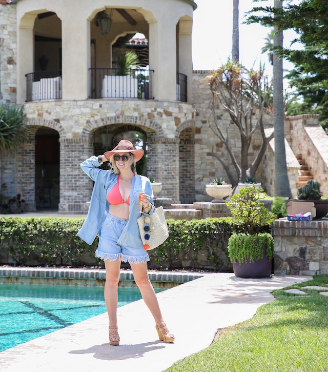 Becca swimsuit + Zara shorts + JoFit chambray shirt