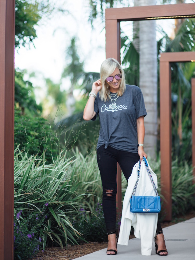 The Home T + Articles of Society jeans + Sam Edelman handbag