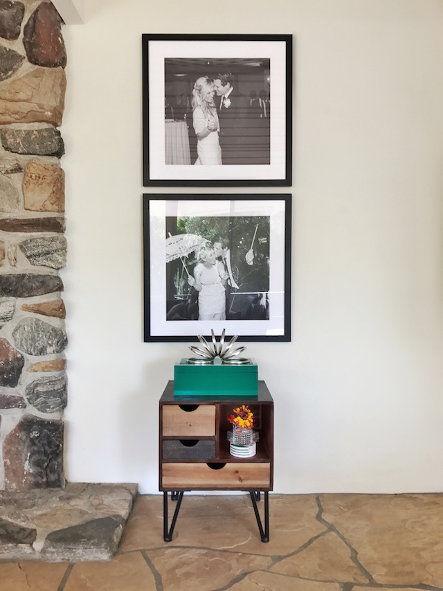 Palm Springs Mid-Century Modern Living Room + Black and White Wedding Photos