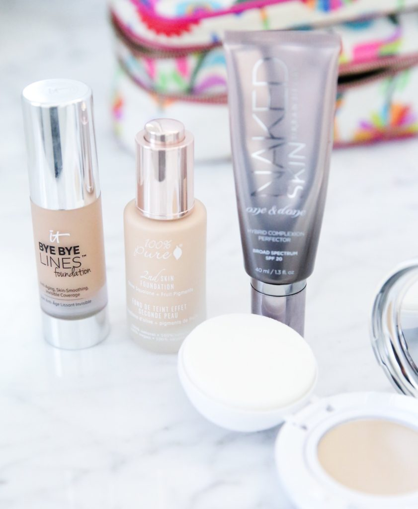 Five favorite foundations from IT Cosmetics, Urban Decay, 100% Pure, and bareMinerals.