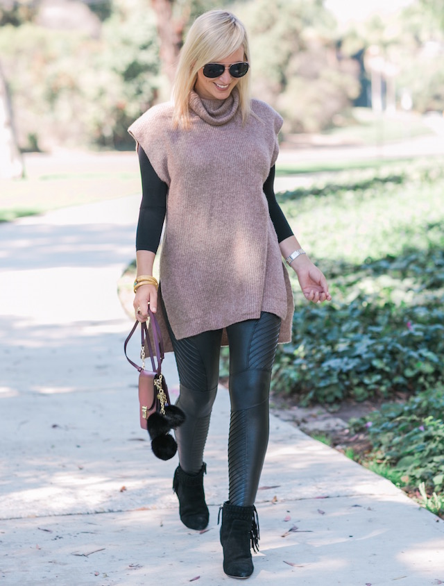 Fashion and lifestyle blogger Nikki Prendergast of My Style Diaries in Spanx moto leggings.