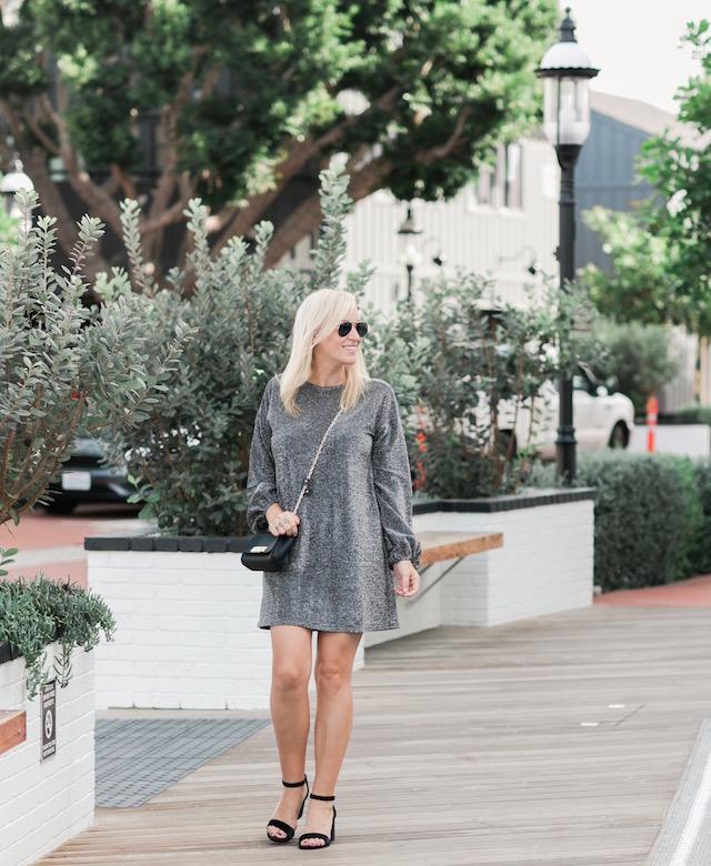 Metallic holiday dress under $100