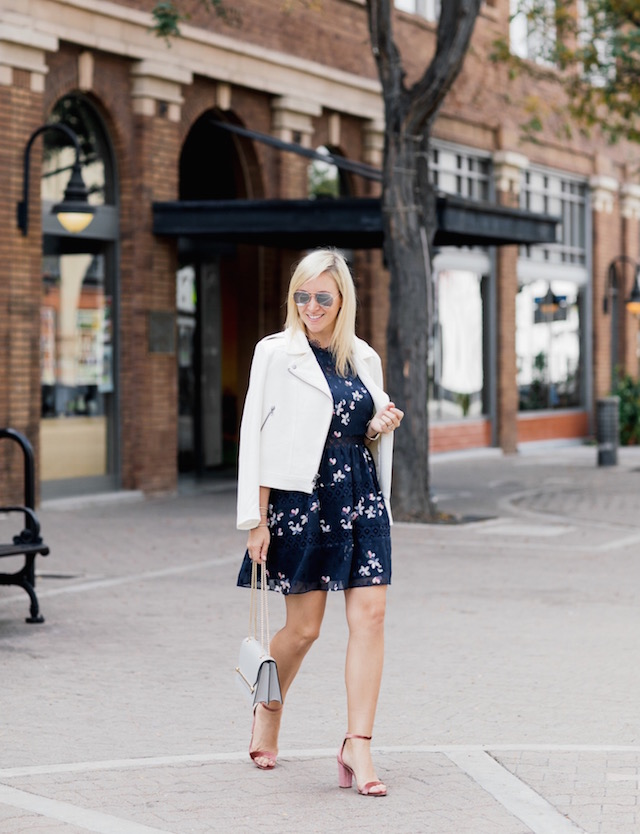 Aqua navy floral dress + Strathberry handbag + velvet heels