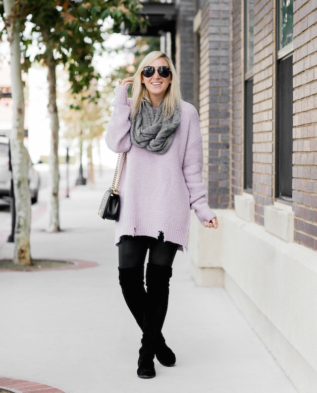 Oversized distressed sweater, Spanx leggings, over-the-knee boots, infinity scarf, Chanel Boy Bag