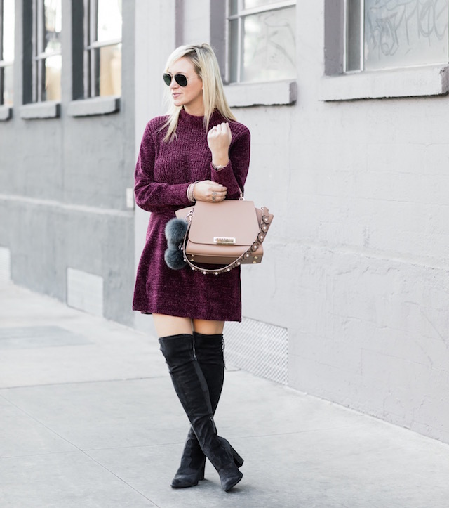 Affordable sweater dress, over-the-knee boots, Zac Zac Posen handbag