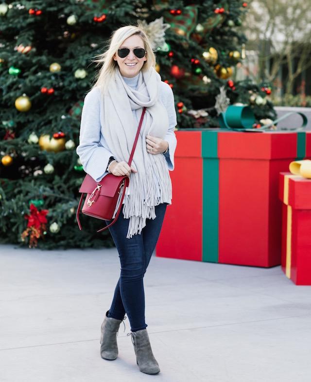 High rise skinny jeans, LOFT sweater, Free People scarf, Zac Zac Posen bag, Ono booties