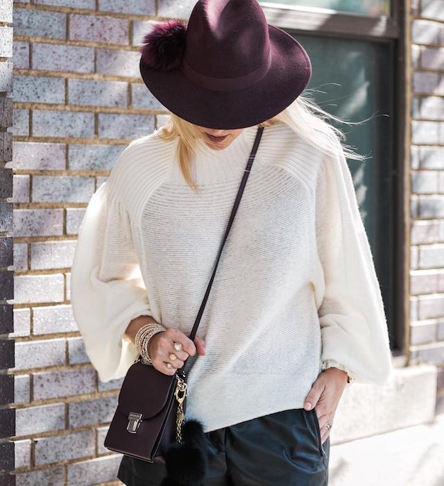 Leather shorts + Free People sweater + Marc Fisher booties + Henri Bendel handbag