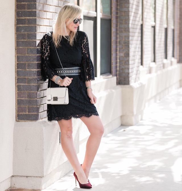Sail to Sable holiday lace dress, Henri Bendel handbag, burgundy pumps