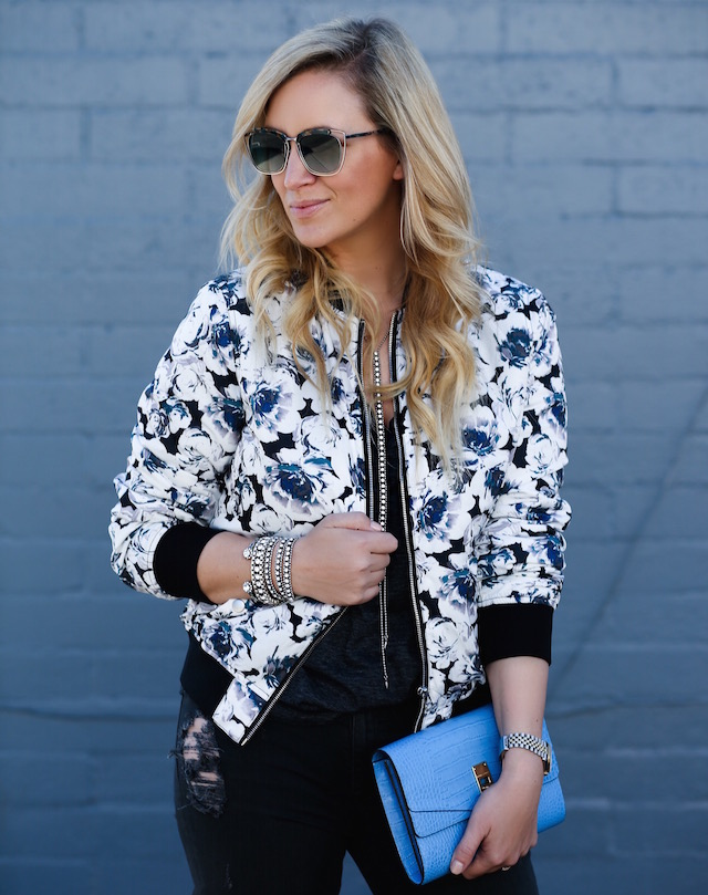 Forever 21 floral bomber jacket + Loren Hope jewels + Henri Bendel clutch