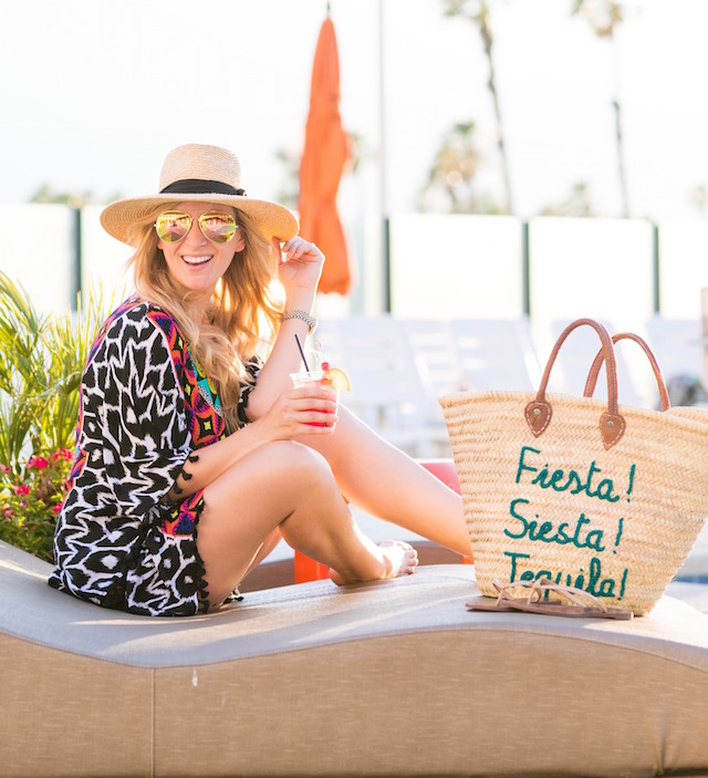 Trina Turk resort style, White Elephant Designs beach bag