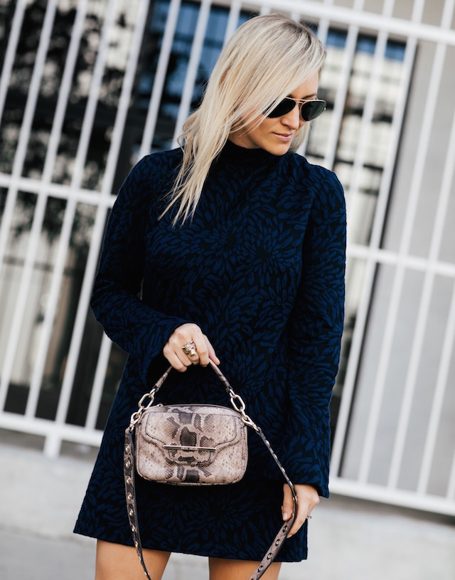 Hutch mock neck dress, Henri Bendel handbag, Steve Madden booties | SoCal blogger My Style Diaries