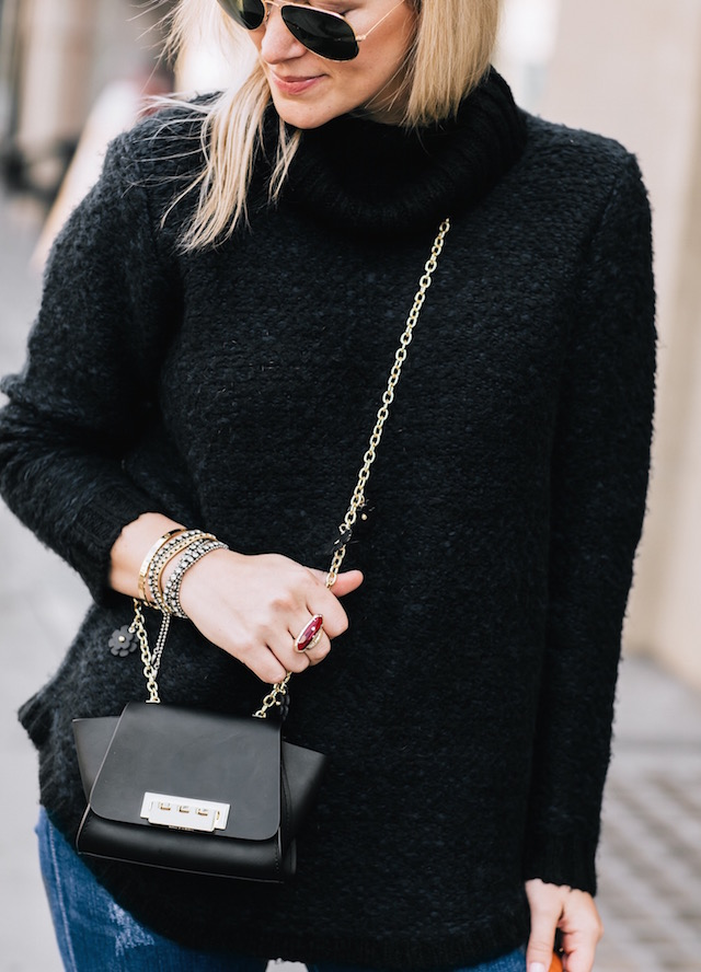 RVCA sweater, Zac Zac Posen handbag