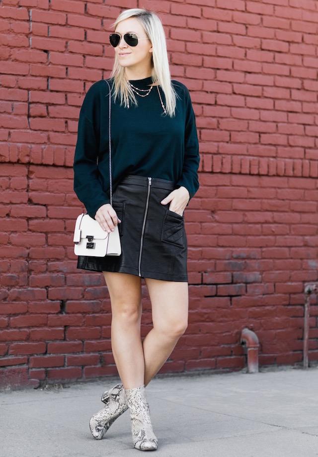 EVIDNT sweater, BB Dakota faux leather skirt, Henri Bendel handbag