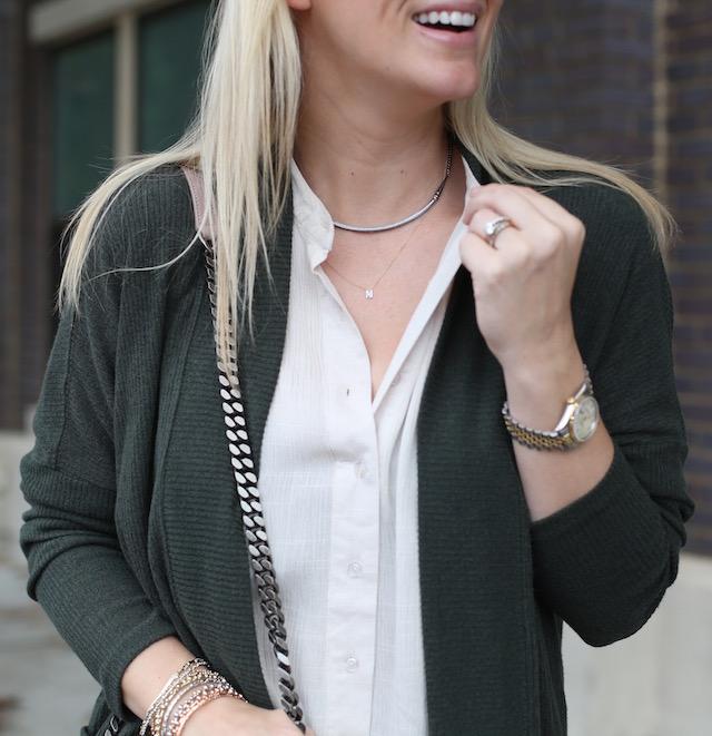 Kendra Scott adjustable necklace + Stella & Dot initial necklace