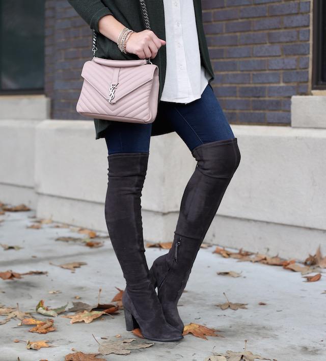 Levi's jeans, OTK boots, Saint Laurent Medium College bag, easy layers