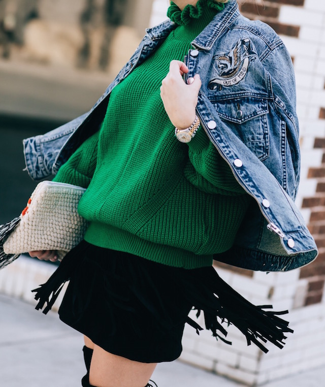 Blank NYC denim jacket, Topshop sweater, BB Dakota skirt, Cleobella clutch