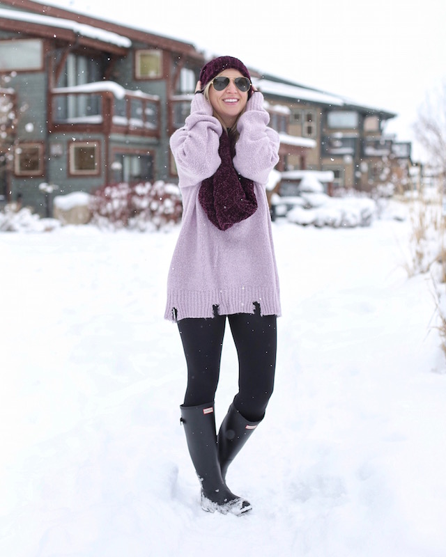 Moon River sweater, Free People scarf and beanie, Hunter Boots | Park City, Utah
