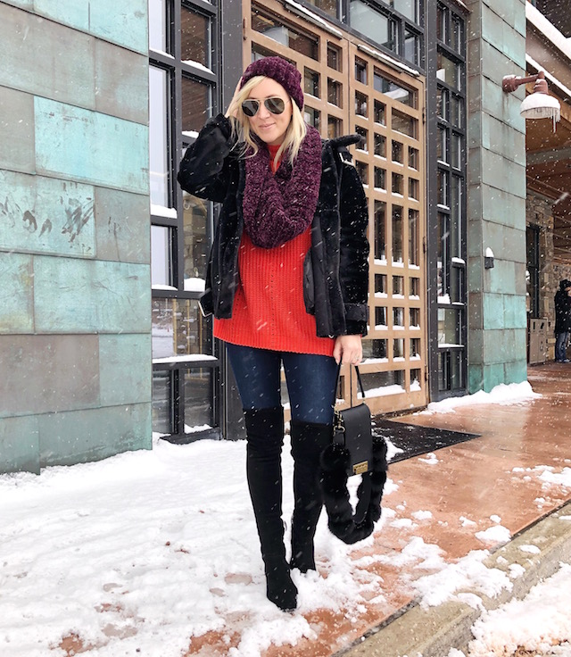 Topshop faux fur jacket, Free People scarf and beanie, SheIn sweater, Zac Zac Posen handbag | Park City, Utah