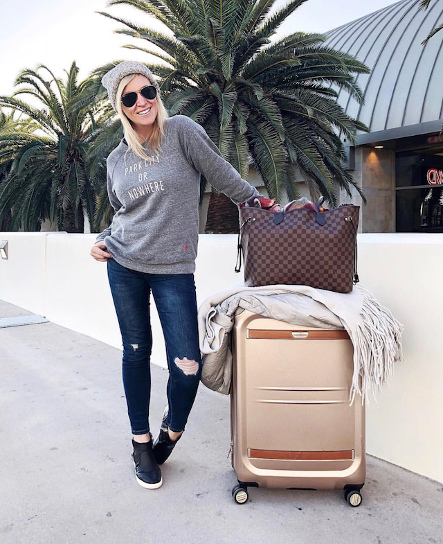 Knowlita sweatshirt, Blank NYC jeans, Love Your Melon beanie, Ricardo Beverly Hills luggage, Louis Vuitton Neverfull | Park City, Utah