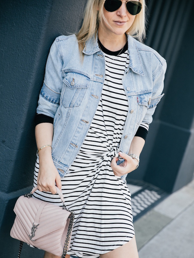striped dress + denim jacket + leopard sneakers | SoCal style blogger Nikki Prendergast of My Style Diaries