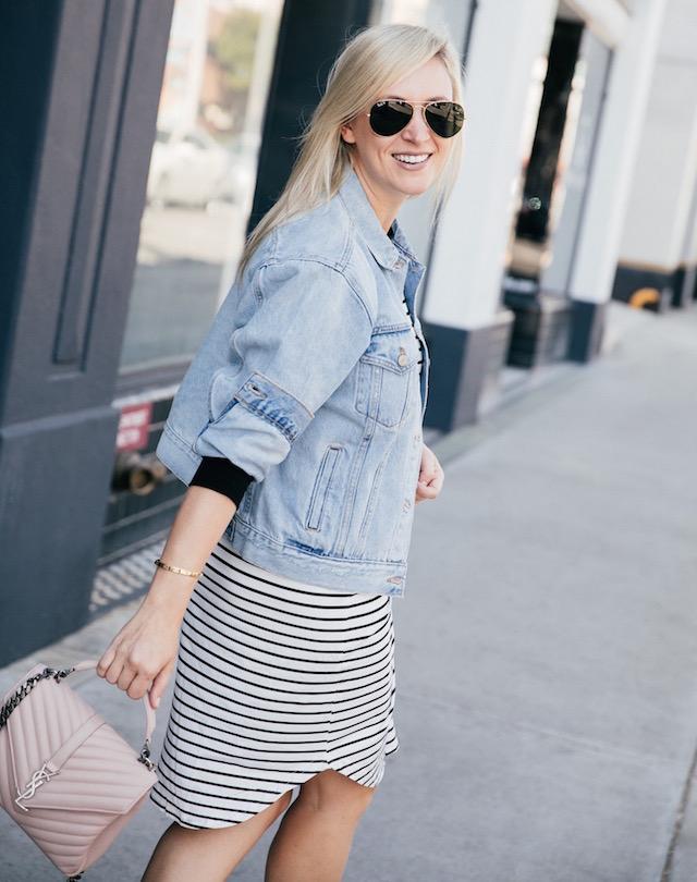 striped dress + denim jacket + leopard sneakers   SoCal style blogger Nikki Prendergast of My Style Diaries